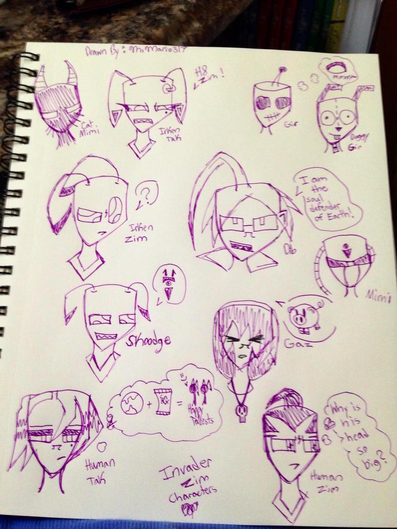 Invader Zim Head Doodles by MsMario317