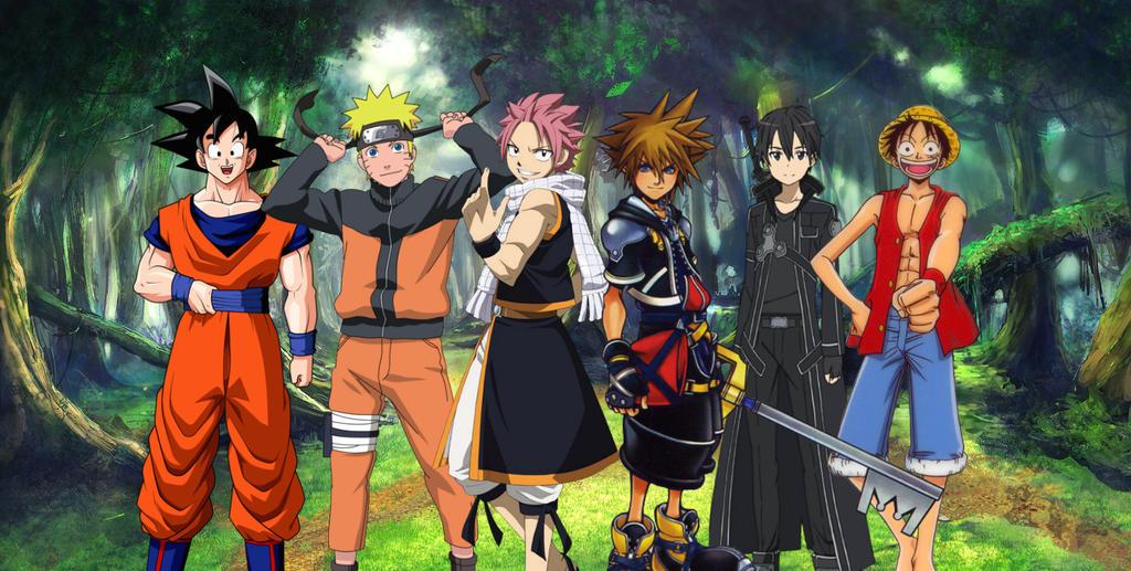 Goku,Naruto,Natsu,Sora,Kirito and Luffy by MuhammadIdlan ...