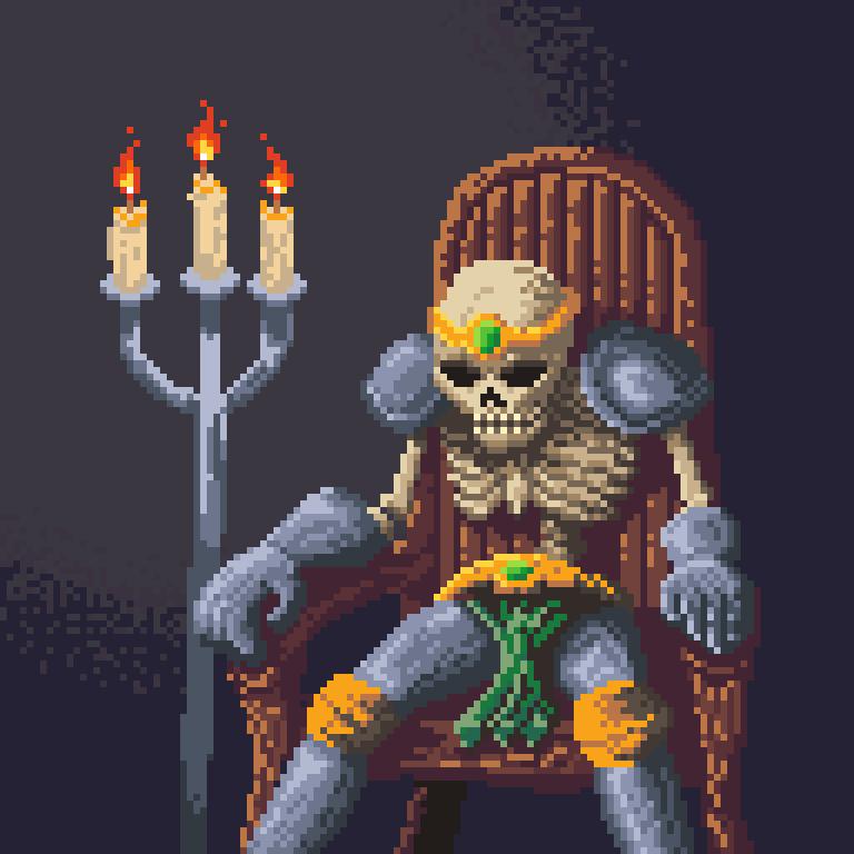 Pixel Art Skeleton King by Dulcahn