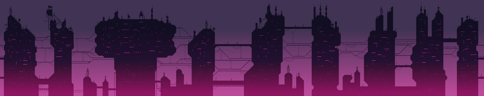 Cyberpunk pixel art city skyline by Dulcahn