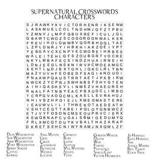 Supernatural Crossword