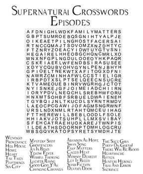 Supernatural Episodes Crossword