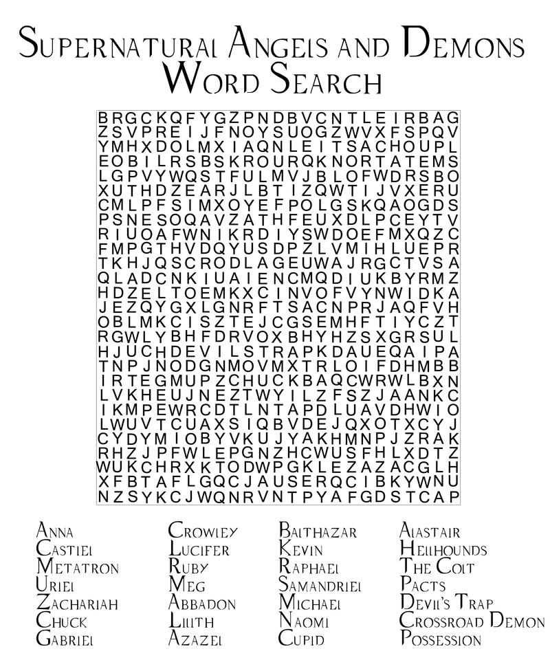SN Word Search Angels and Demons by angiezinha on DeviantArt