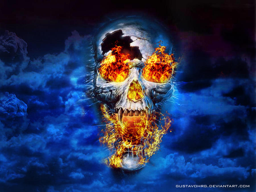 blue flames skull flame - photo #19