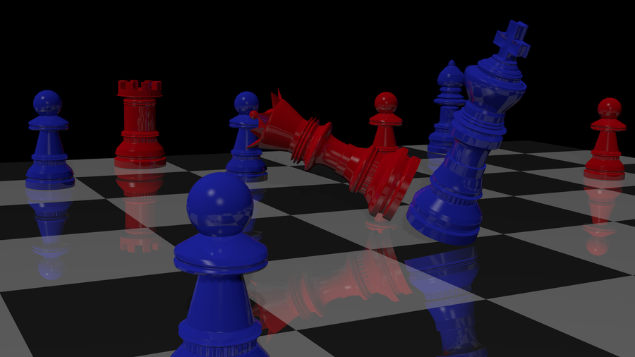 Blue and Red Chess Game by evan3585
