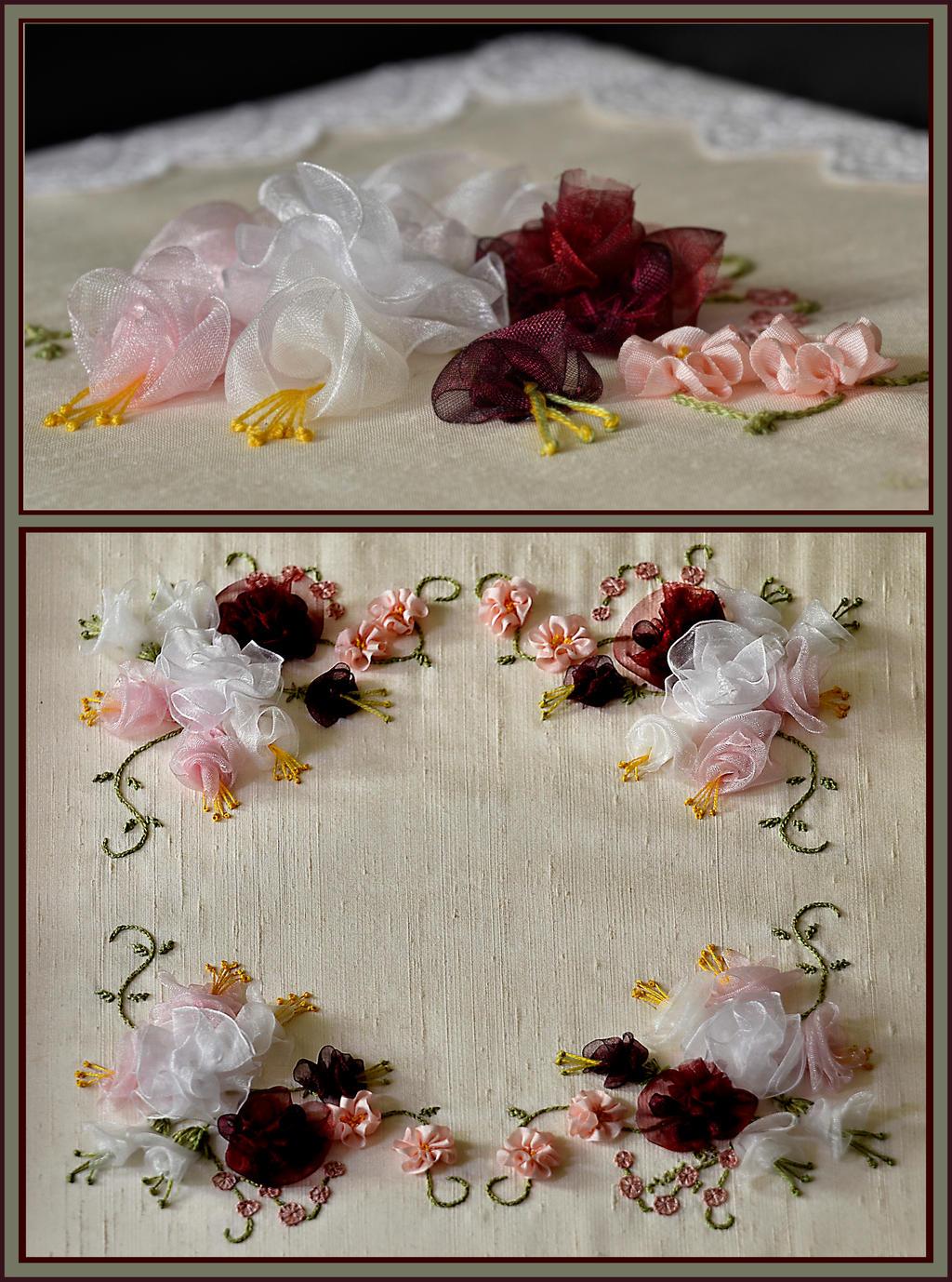 Silk Ribbon Rose Embroidery by MayEbony