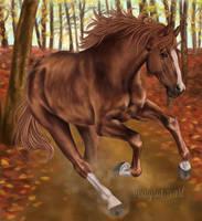 Chestnut Horse in Autumn by alyriaart
