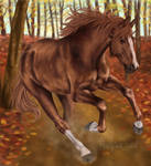 Chestnut Horse in Autumn