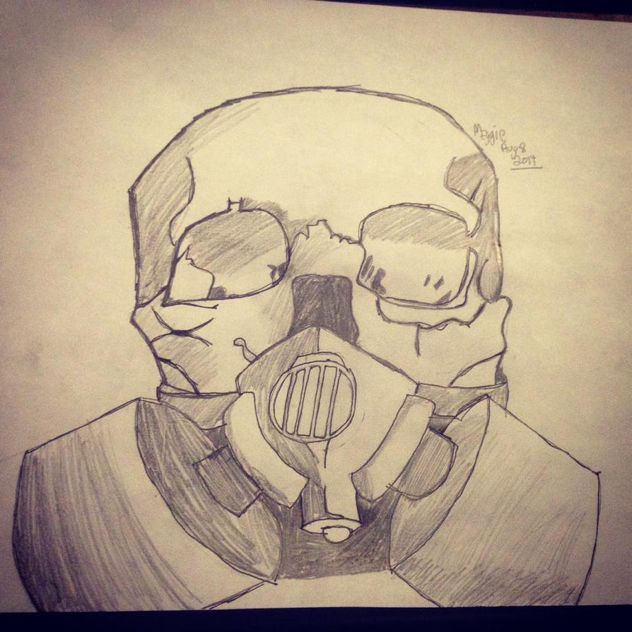 Drawing Of A Skull W Gas Mask By TheWeirdVersion