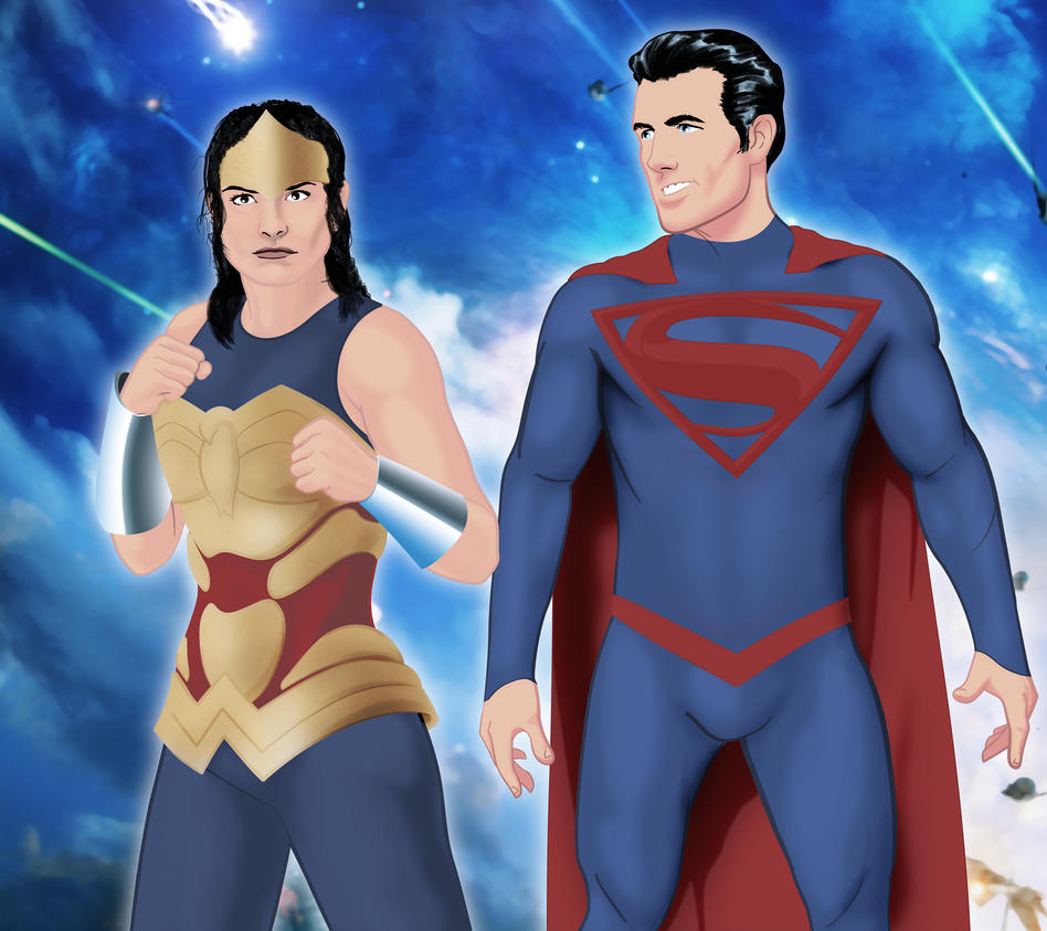 superman wonderwoman by hugeackman