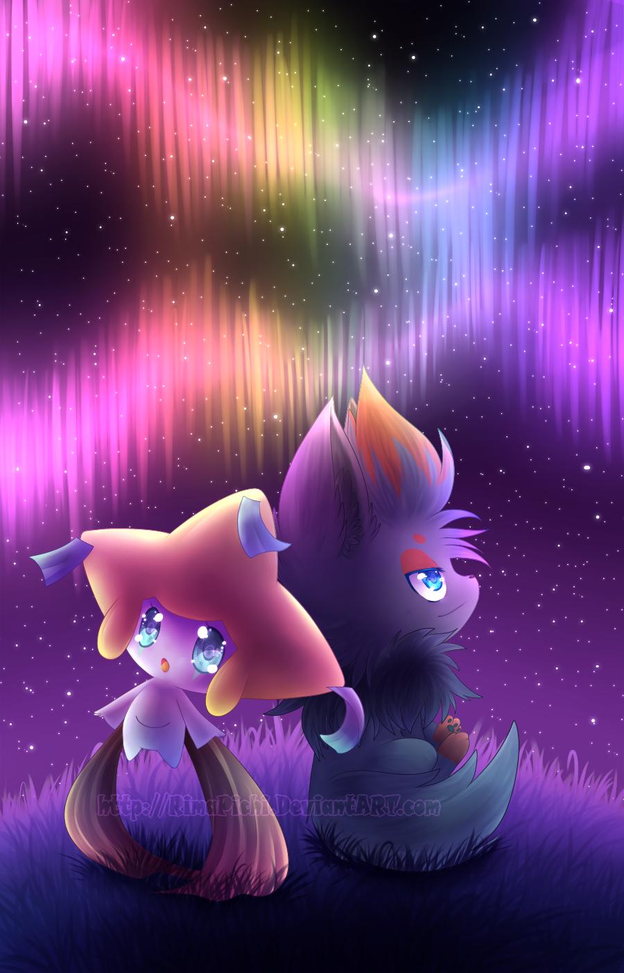 Jirachi and Zorua by RimaPichi