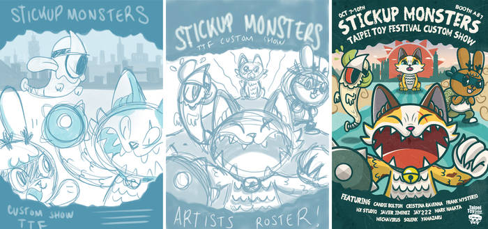 StickUp Monsters show poster sketches