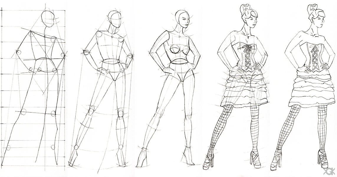 How To Draw A Fashion Figure Step By Step Sketch of fashion design step