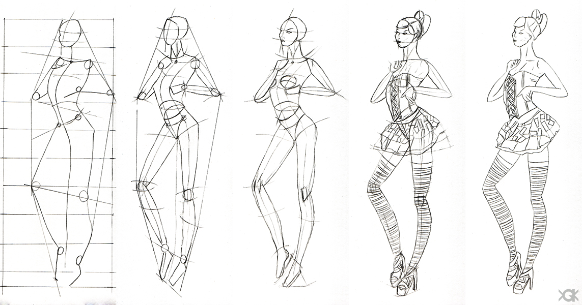 sketch of fashion design 2 step by step by vegakavgk on