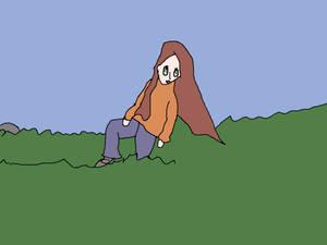 Woman In High Grass Fields Posing