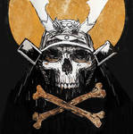 Skull Samurai Ink + Pen Sketch with Gold Leaf