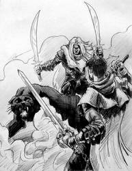 Drizzt Vs Artemis Lunchtime Sketch by KingCorvid