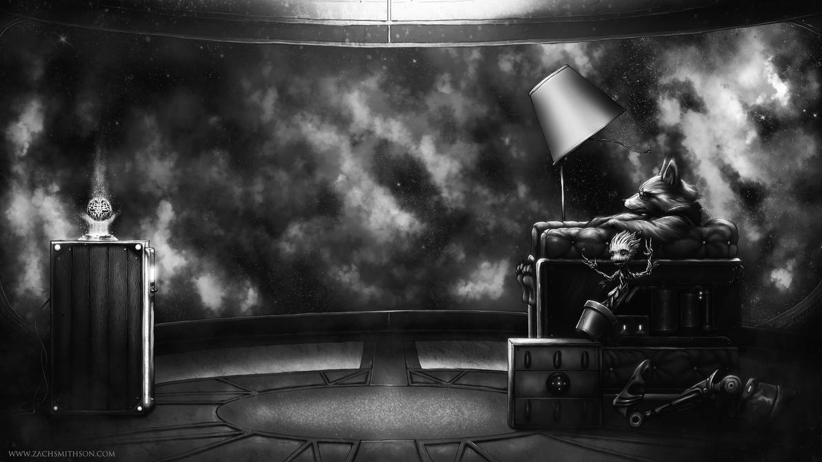 Rocket and Groot: Blown Away Black and White by ZachSmithson