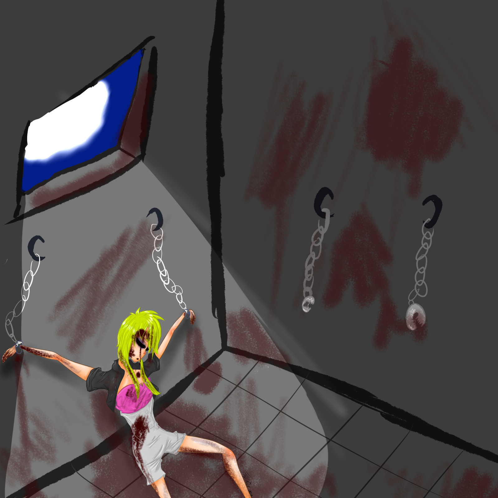 Anime girl chained to a wall