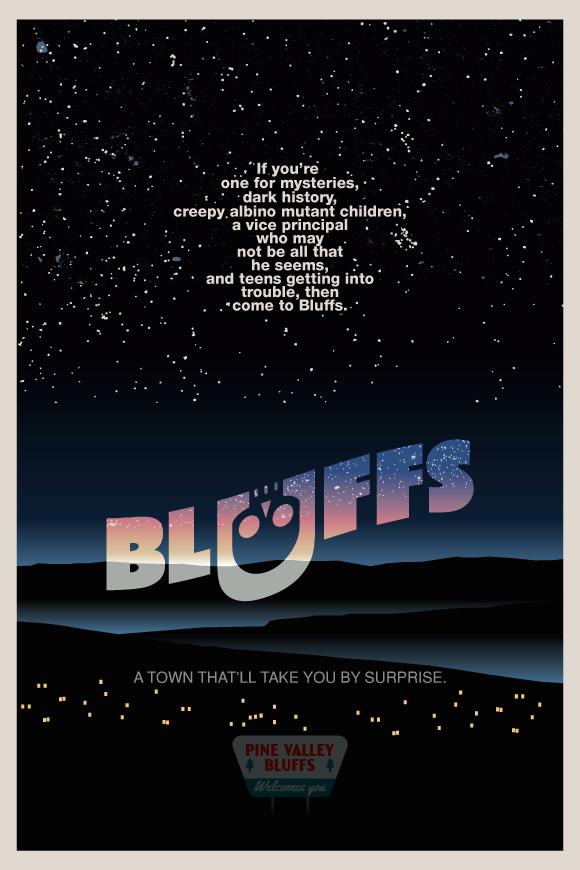 BLUFFS Retro Poster by Jarvisrama99