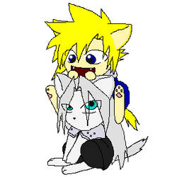 Cloud and Seph kitties by Kira-the-obsessed