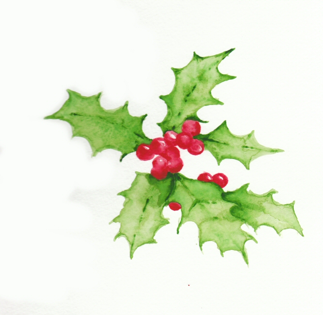 How To Water Paint Holly And Berries