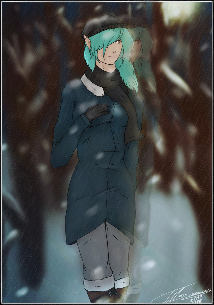 Paige in snow by tibadraw