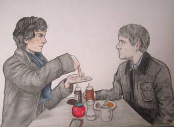 Sherlock and John eating by ThatPaperclipSloth