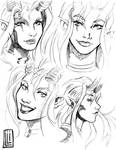 devil girl faces design