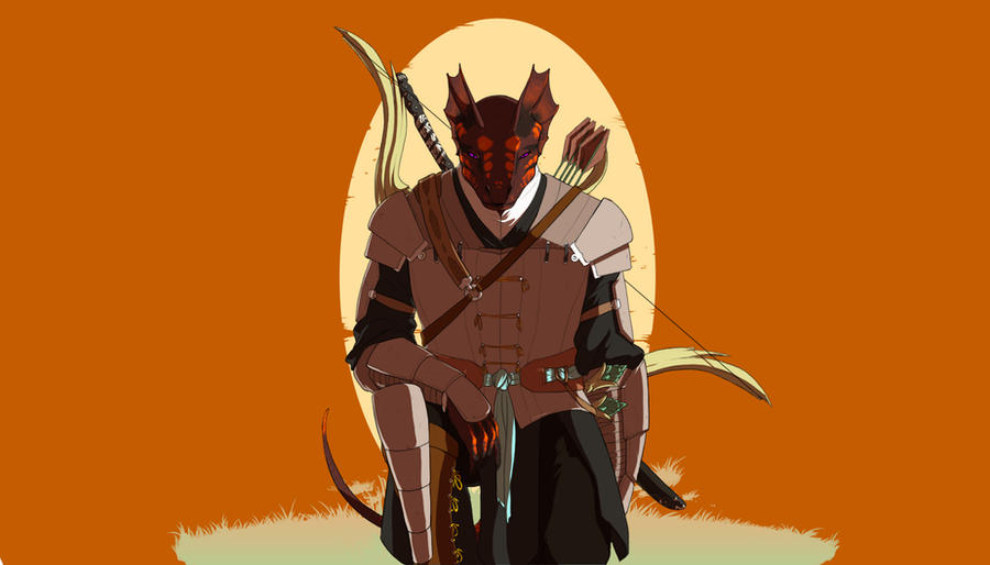commission - Samurai Argonian by GloomyLavv