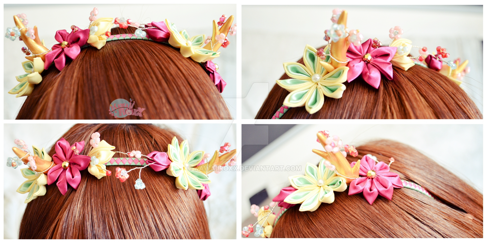 Kanzashi headband horns gold fuschia by KawaiiRoxX