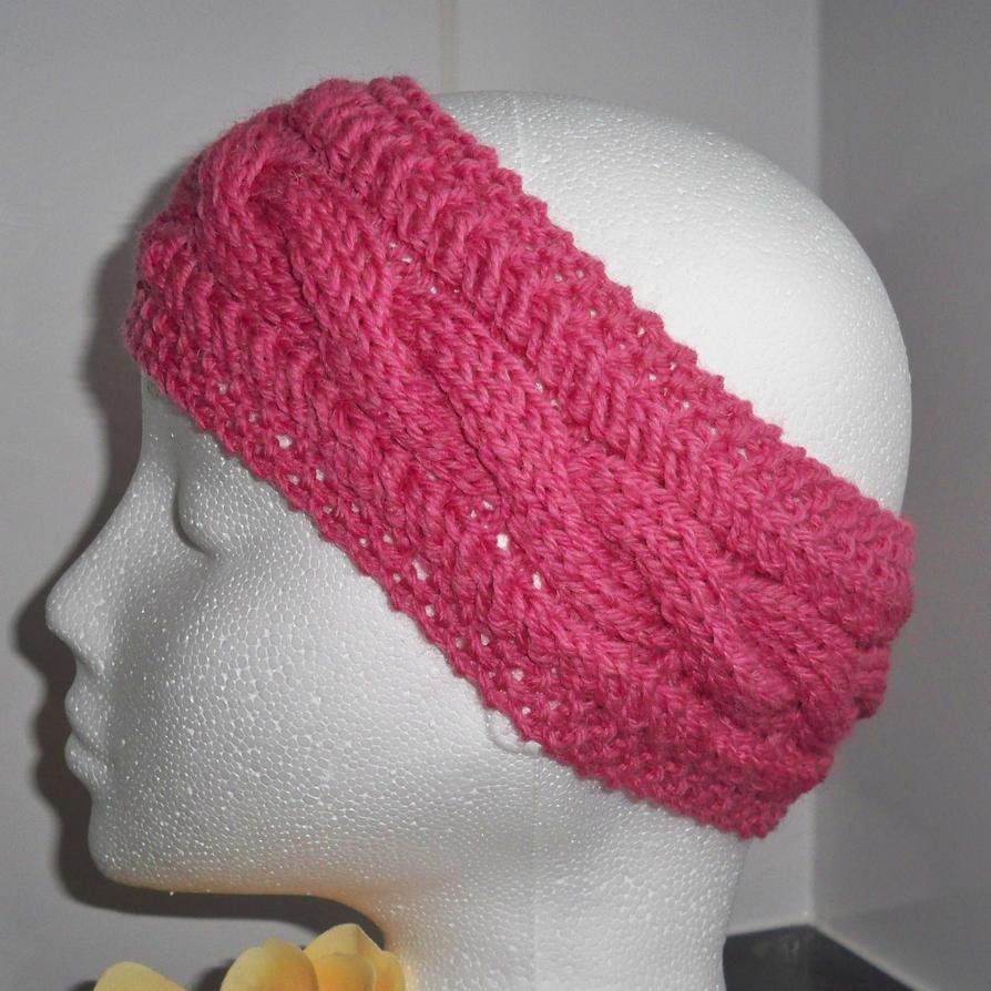 Hands Knitting Drawing : Hand knitted dark pink earwarmer or headband by rowanknits