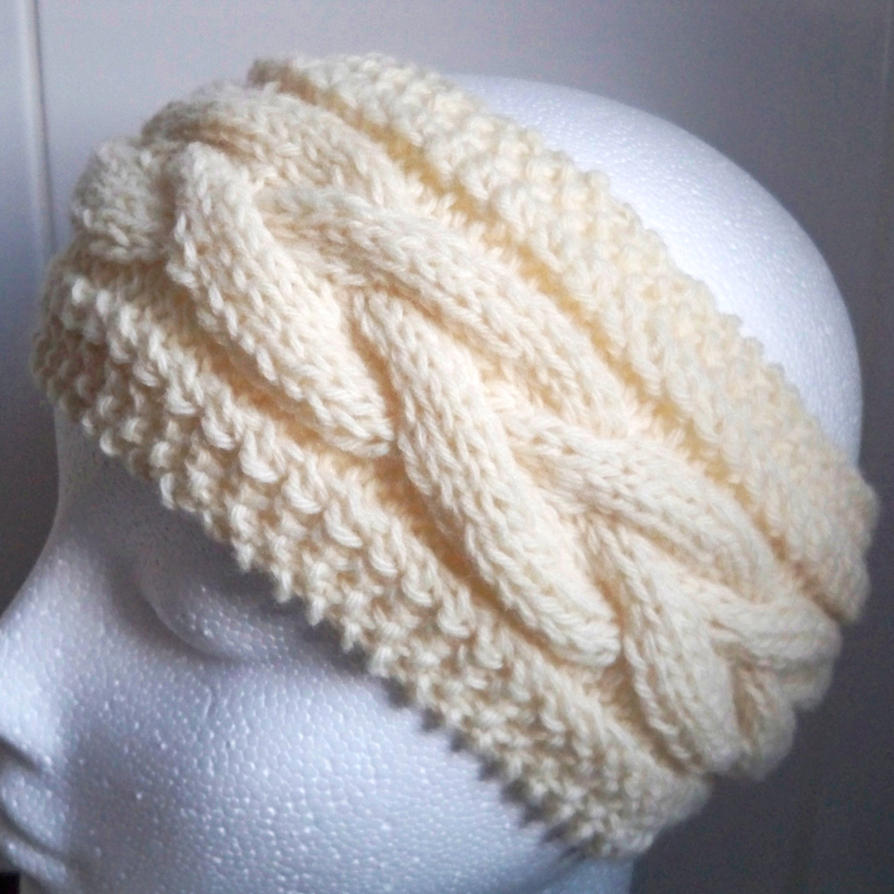 Hands Knitting Drawing : Hand knitted cream aran earwarmer or headband by