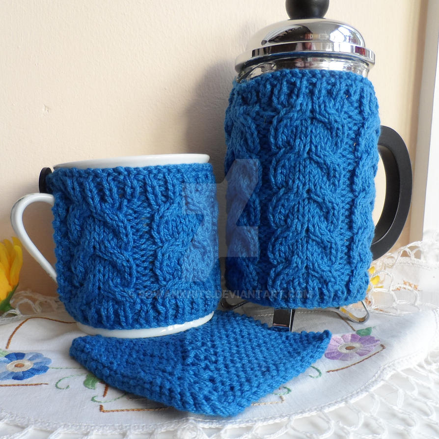 Coffee Pot Cosy Knitting Pattern : Hand knitted cafetiere cover coffee pot press cosy by RowanKnits on DeviantArt