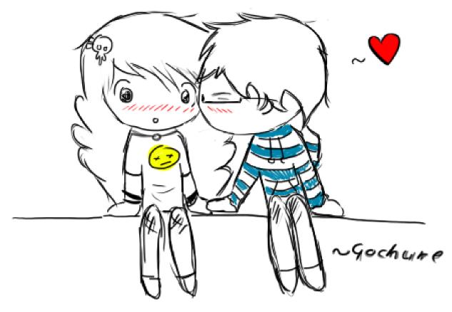 A cute boy kissing a cute girl drawing by Gochure on ...
