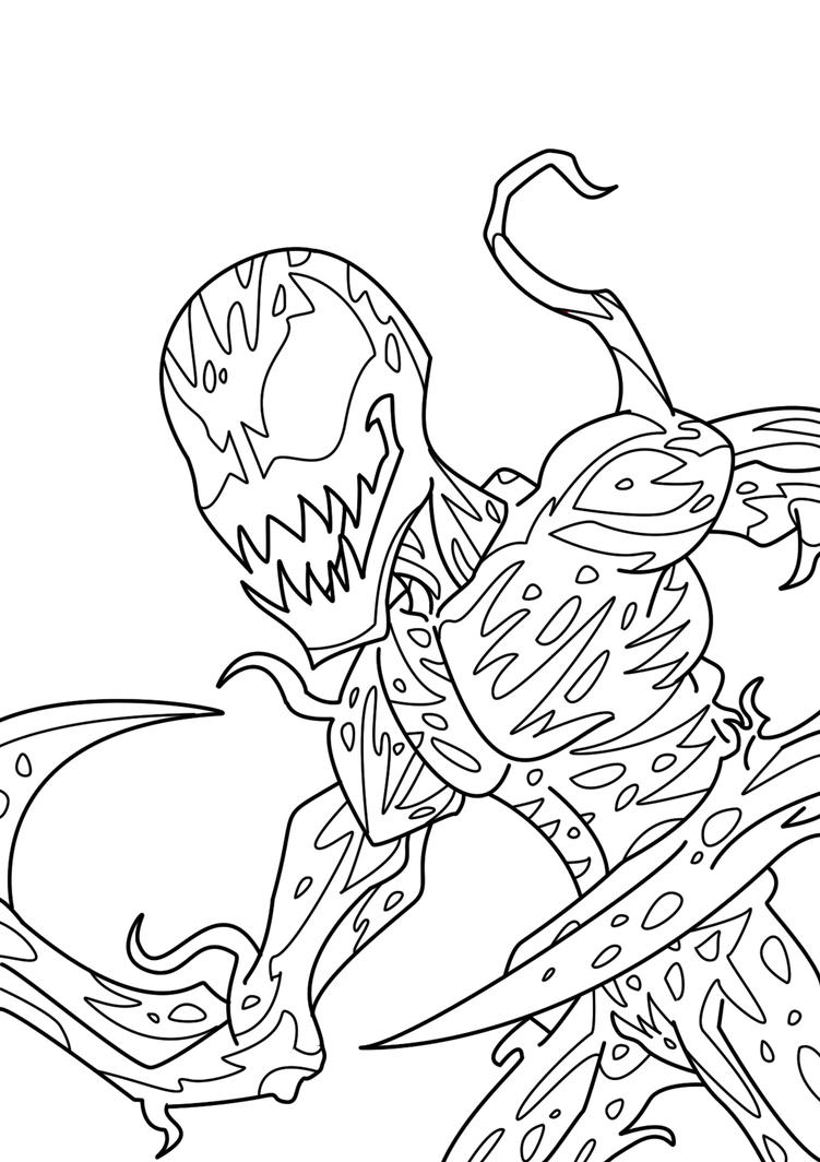 spectacular spiderman coloring pages - spectacular carnage lineart by gridalien on deviantart