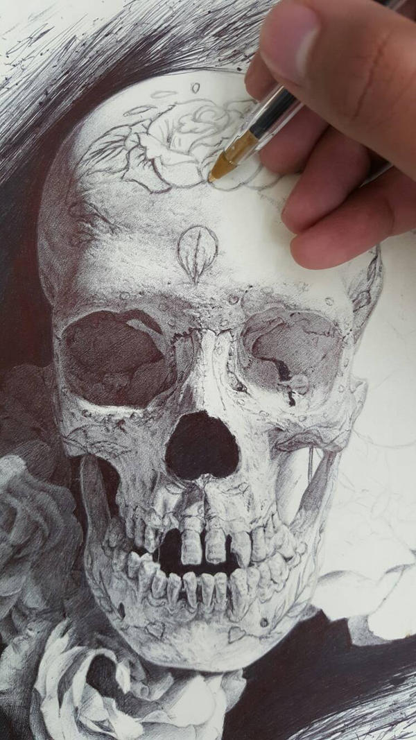 Sugar Skull WIP by ChrisHerreraArt