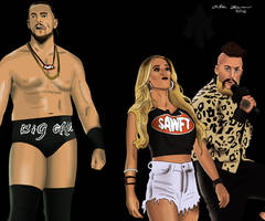 Enzo Amore, Carmella, and Big Cass Drawing by AllenThomasArtist