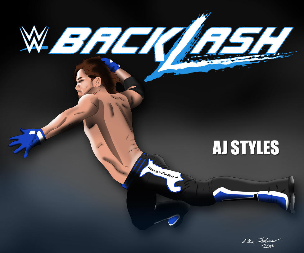 WWE Backlash 2016 AJ Styles Drawing By AllenThomasArtist