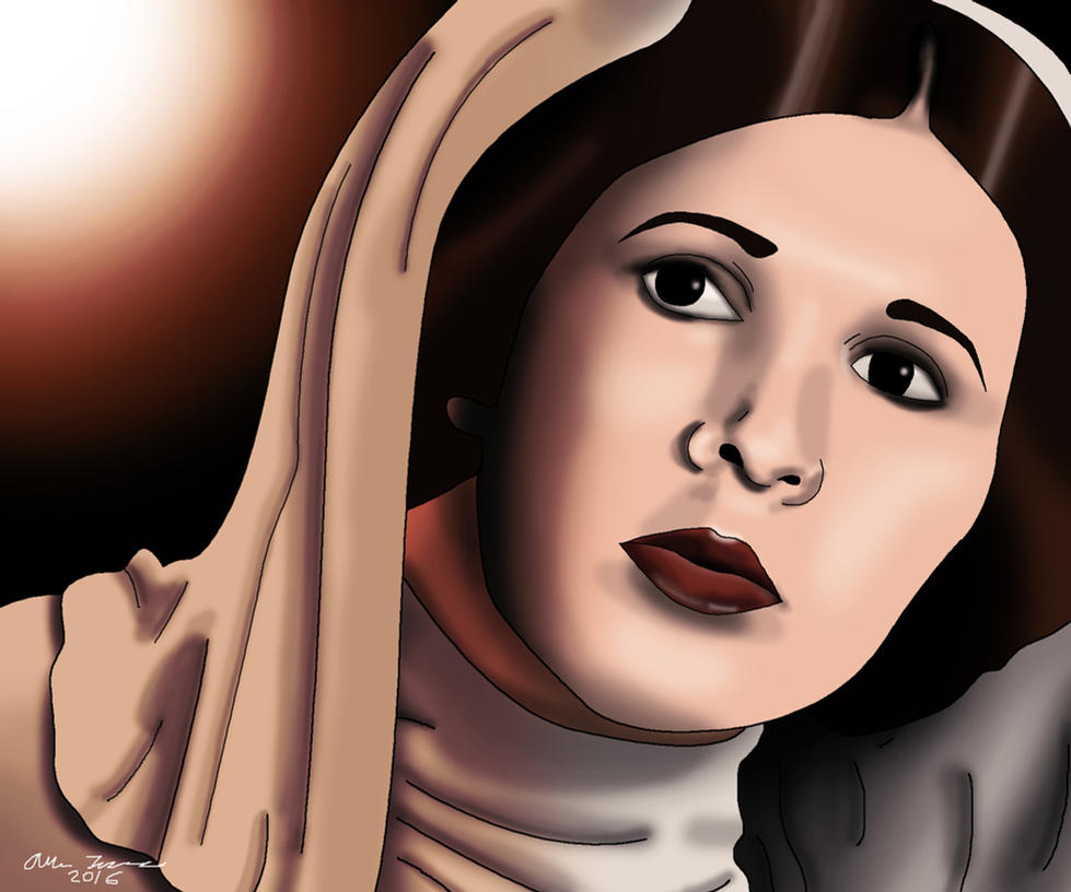 Princess Leia Drawing RIP Carrie Fisher by AllenThomasArtist