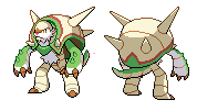 Chesnaught B/W sprite. (front and back) by GalifiaStudios