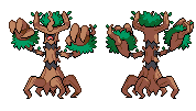 Trevenant B/W sprite (front and back) by GalifiaStudios