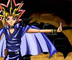 Yami Yugi holding a card by powerswithin
