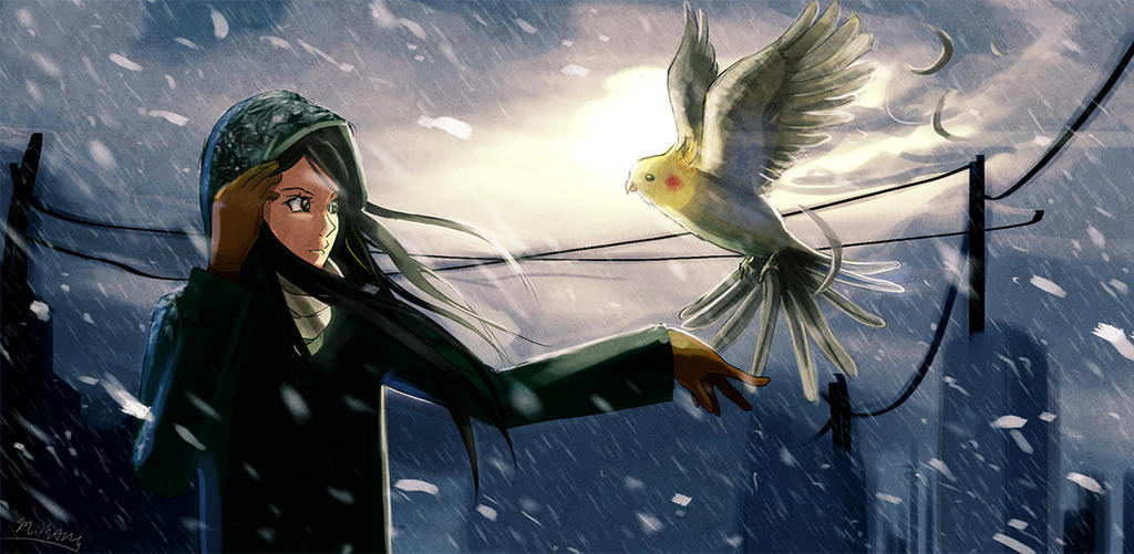 Burd and winter by powerswithin