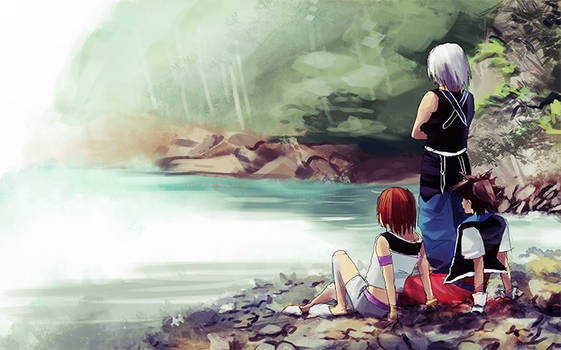 KH characters sitting by the waters