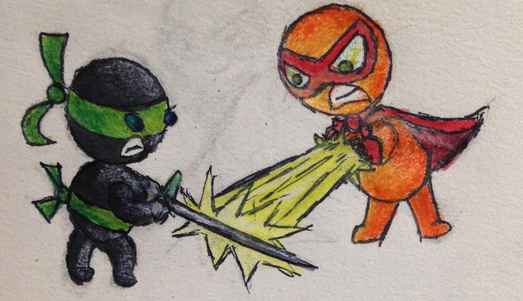 Superhero V. Ninja by swiftcross