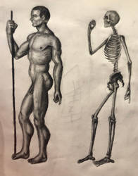 Man and Skeleton Side by swiftcross