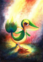 Snivy painting by EternaLegend