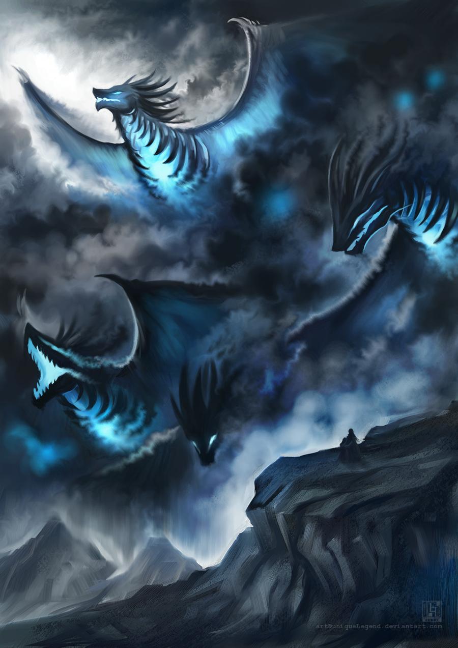 Storm Dragons by Etern... Cool Grim Reaper Drawings