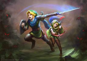 LoZ - Sibling Teamwork by EternaLegend
